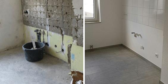 Vorher-Nachher-Projekte Küchensanierung bei KARO Systembau NRW